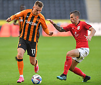 Hull City's James Scott battles with Crew Alexandra's Luke Offord<br /> <br /> Photographer Dave Howarth/CameraSport<br /> <br /> The EFL Sky Bet League One - Hull City v Crewe Alexandra - Saturday 19th September 2020 - KCOM Stadium - Kingston upon Hull<br /> <br /> World Copyright © 2020 CameraSport. All rights reserved. 43 Linden Ave. Countesthorpe. Leicester. England. LE8 5PG - Tel: +44 (0) 116 277 4147 - admin@camerasport.com - www.camerasport.com