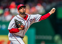 30 April 2017: Washington Nationals pitcher Oliver Perez on the mound in the 7th inning against the New York Mets at Nationals Park in Washington, DC. The Nationals defeated the Mets 23-5, with the Nationals setting several individual and team records, in the third game of their weekend series. Mandatory Credit: Ed Wolfstein Photo *** RAW (NEF) Image File Available ***