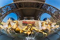 Fisheye perceptive of the replica golden fountain under the Eiffel Tower by the Vegas Parisian casino, in Macau, China