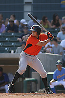 Greg Miclat #1 of the Frederick Keys at bat during a game against the Myrtle Beach Pelicans on May 2, 2010 in Myrtle Beach, SC.