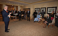 Former United States President Bill Clinton speaks with several members of different FIFA international confederations at the Saxon Hotel in Sandhurst, Johannesburg, South Africa on June 24, 2010.  Clinton is the honorary chairman of the U.S. bid to host the World Cup in either 2018 or 2022.