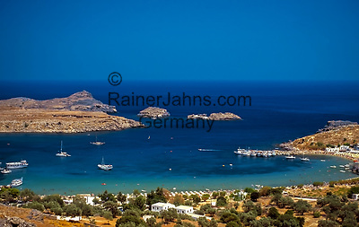 Griechenland, Dodekanes, Rhodos, Lindos: Grand Harbour | Greece, Dodekanes, Rhodes, Lindos: Grand Harbour