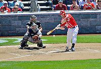 16 June 2012: Washington Nationals first baseman Tyler Moore in action against the New York Yankees at Nationals Park in Washington, DC. The Yankees defeated the Nationals in 14 innings by a score of 5-3, taking the second game of their 3-game series. Mandatory Credit: Ed Wolfstein Photo