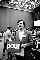 January 18, 1985 - Paul Begin<br /> at the Parti Quebecois (PQ) convention held at Montreal Palais des Congres (convention centre)