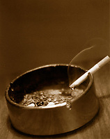 2000 FILE Photo, Montreal, Canada<br /> <br /> Cigarette burning in an ashtray<br /> Mandatory Credit: Photo by Pierre Roussel- Images Distribution. (©) Copyright 2000 by Pierre Roussel