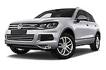 Stock pictures of low aggressive front three quarter view of a 2014 Volkswagen Touareg Hybrid 5 Door SUV 2WD Low Aggressive