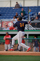 State College Spikes Dariel Gomez (34) bats during a NY-Penn League game against the Batavia Muckdogs on August 24, 2019 at Dwyer Stadium in Batavia, New York.  State College defeated Batavia 1-0.  (Mike Janes/Four Seam Images)