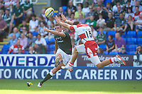 Jonny May of Gloucester Rugby attempts to block the conversion attempt of Steven Shingler of London Irish during the Aviva Premiership match between London Irish and Gloucester Rugby at the Madejski Stadium on Saturday 8th September 2012 (Photo by Rob Munro)