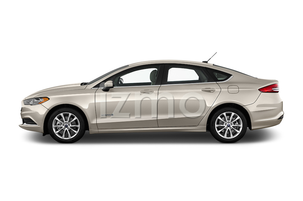 Car Driver side profile view of a 2017 Ford Fusion-Hybrid Hybrid-SE 4 Door Sedan Side View