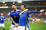 Aberdeen v St Johnstone…08.12.18…   Pittodrie    SPFL<br />Joe Shaughnessy celebrates his goal with Jason Kerr and Liam Craig<br />Picture by Graeme Hart. <br />Copyright Perthshire Picture Agency<br />Tel: 01738 623350  Mobile: 07990 594431