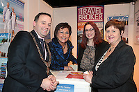 NO FEE PICTURES.25/1/13 Maureen Ledwith, Director Holiday World, Lord Mayor of Dublin is Naoise Ó Muirí and Clare Dunne, President ITAA with Rebecca Dunne, The Travel Broker at the Holiday World Show at the RDS, Dublin. Picture:Arthur Carron/Collins