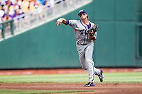 TCU Horned Frogs shortstop Keaton Jones (26) makes a throw to first base against the LSU Tigers in the NCAA College World Series on June 14, 2015 at TD Ameritrade Park in Omaha, Nebraska. TCU defeated LSU 10-3. (Andrew Woolley/Four Seam Images)