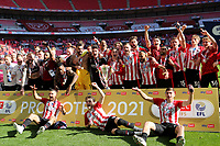 Brentford celebrate promotion to the Premier League during Brentford vs Swansea City, Sky Bet EFL Championship Play-Off Final Football at Wembley Stadium on 29th May 2021