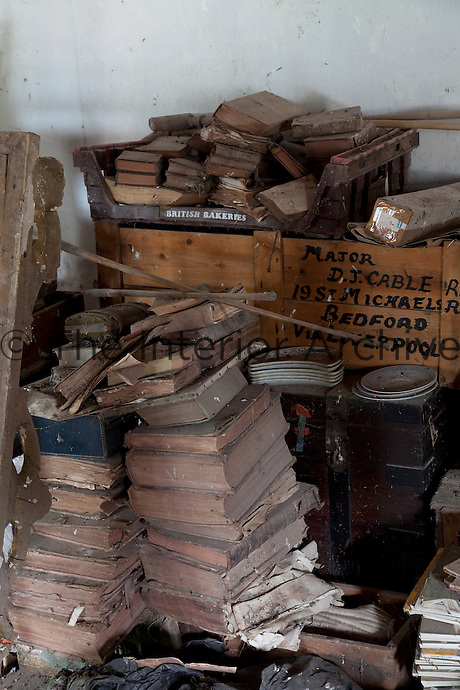 Piles of rotting books, perhaps victims of the 1959 flood, which meant the house was unlivable for two years until it dried out, and they havn't been reinstated