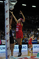England's Georgina Fisher competes for the ball during the Cadbury Netball Series Taini Jamison Trophy match between New Zealand Silver Ferns and England Roses at Claudelands Arena in Hamilton, New Zealand on Wednesday, 28 October 2020. Photo: Dave Lintott / lintottphoto.co.nz