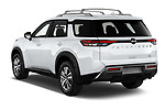 Car pictures of rear three quarter view of 2022 Nissan Pathfinder SL 5 Door SUV Angular Rear