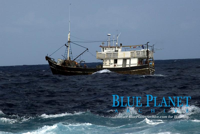 Commercial fishing vessel, St. Peter and St. Paul's rocks, Brazil, Atlantic Ocean