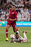 Pedro Correia of Qatar (L) fights for the ball with Ismail Salem Alhammadi of United Arab Emirates (R) during the AFC Asian Cup UAE 2019 Semi Finals match between Qatar (QAT) and United Arab Emirates (UAE) at Mohammed Bin Zaied Stadium  on 29 January 2019 in Abu Dhabi, United Arab Emirates. Photo by Marcio Rodrigo Machado / Power Sport Images