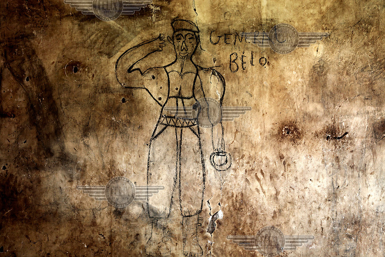 Graffiti on the walls of Bangui's notorious N'Garagba Prison. All prisoners, both common criminals and political opponents of ousted President Francois Bozize, were released by the Seleka rebels when they took the capital following a coup d'etat in March 2013.