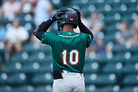 Liover Peguero (10) of the Greensboro Grasshoppers gets ready to bat during the game against the Winston-Salem Dash at Truist Stadium on August 13, 2021 in Winston-Salem, North Carolina. (Brian Westerholt/Four Seam Images)