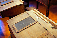 Traditional schoolroom desk.