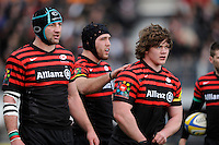 20130303 Copyright onEdition 2013©.Free for editorial use image, please credit: onEdition..(L-R) Steve Borthwick, Will Fraser and Nick Auterac of Saracens during the Premiership Rugby match between Saracens and London Welsh at Allianz Park on Sunday 3rd March 2013 (Photo by Rob Munro)..For press contacts contact: Sam Feasey at brandRapport on M: +44 (0)7717 757114 E: SFeasey@brand-rapport.com..If you require a higher resolution image or you have any other onEdition photographic enquiries, please contact onEdition on 0845 900 2 900 or email info@onEdition.com.This image is copyright onEdition 2013©..This image has been supplied by onEdition and must be credited onEdition. The author is asserting his full Moral rights in relation to the publication of this image. Rights for onward transmission of any image or file is not granted or implied. Changing or deleting Copyright information is illegal as specified in the Copyright, Design and Patents Act 1988. If you are in any way unsure of your right to publish this image please contact onEdition on 0845 900 2 900 or email info@onEdition.com