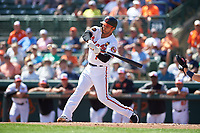 Baltimore Orioles third baseman Rio Ruiz (14) swings at a pitch during a Grapefruit League Spring Training game against the Tampa Bay Rays on March 1, 2019 at Ed Smith Stadium in Sarasota, Florida.  Rays defeated the Orioles 10-5.  (Mike Janes/Four Seam Images)
