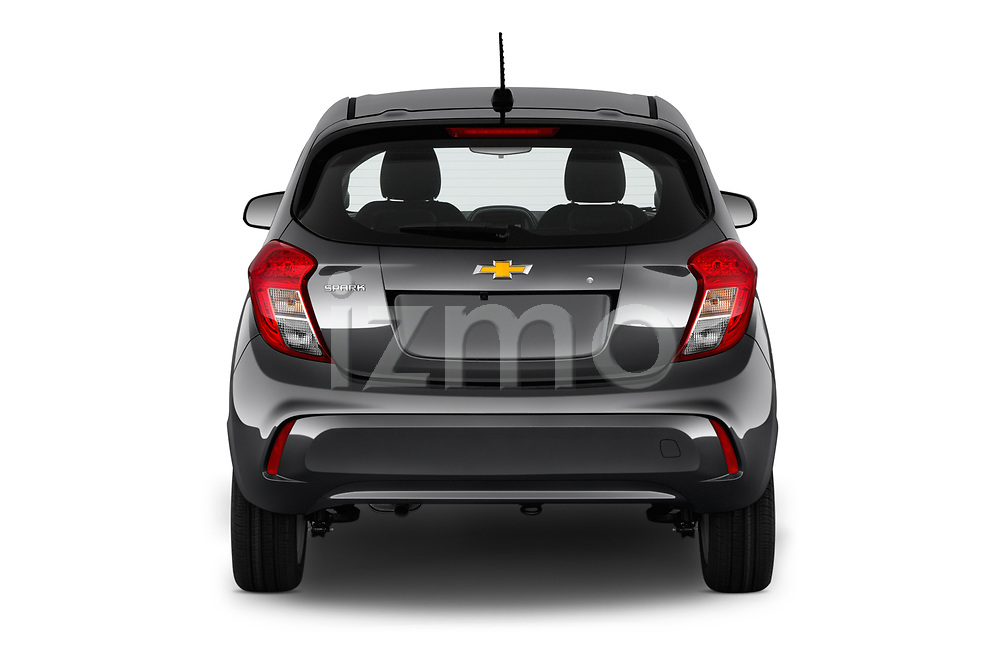 Straight rear view of a 2020 Chevrolet Spark LS Select Doors Door Hatchback stock images