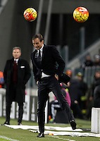 Calcio, Serie A: Juventus vs Milan. Torino, Juventus Stadium, 21 novembre 2015. <br /> Juventus coach Massimiliano Allegri reacts during the Italian Serie A football match between Juventus and AC Milan at Turin's Juventus stadium, 21 November 2015. Juventus won 1-0.<br /> UPDATE IMAGES PRESS/Isabella Bonotto