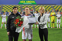 20190304 - LARNACA , CYPRUS : Hungarian head coach Marko Edina (left) , Hungarian midfielder Zsofia Racz (middle) honored pictured during a women's soccer game between Mexico and Hungary , on Monday 4 March 2019 at the AEK Arena in Larnaca , Cyprus . This is the third game in group B for both teams during the Cyprus Womens Cup 2019 , a prestigious women soccer tournament as a preparation on the FIFA Women's World Cup 2019 in France . PHOTO SPORTPIX.BE | STIJN AUDOOREN