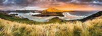 Sunset over Hoopers Inlet, Dunedin, Otago Peninsula, East Coast, New Zealand, NZ