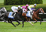 09 October 10: Court Vision (no. 9), ridden by Robby Albarado and trained by ??\\Richard Dutrow Jr., wins the 24th running of the grade 1 Turf Mile Stakes for three year olds and upward at Keeneland in Lexington, Kentucky.