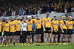 Clonlara stand for the anthem before their senior county final replay at Cusack Park. Photograph by John Kelly.