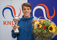 Hilversum, Netherlands, August 13, 2016, National Junior Championships, NJK, Prizegiving, winner boy's single 18 years : Ryan Nijboer. <br /> Photo: Tennisimages/Henk Koster