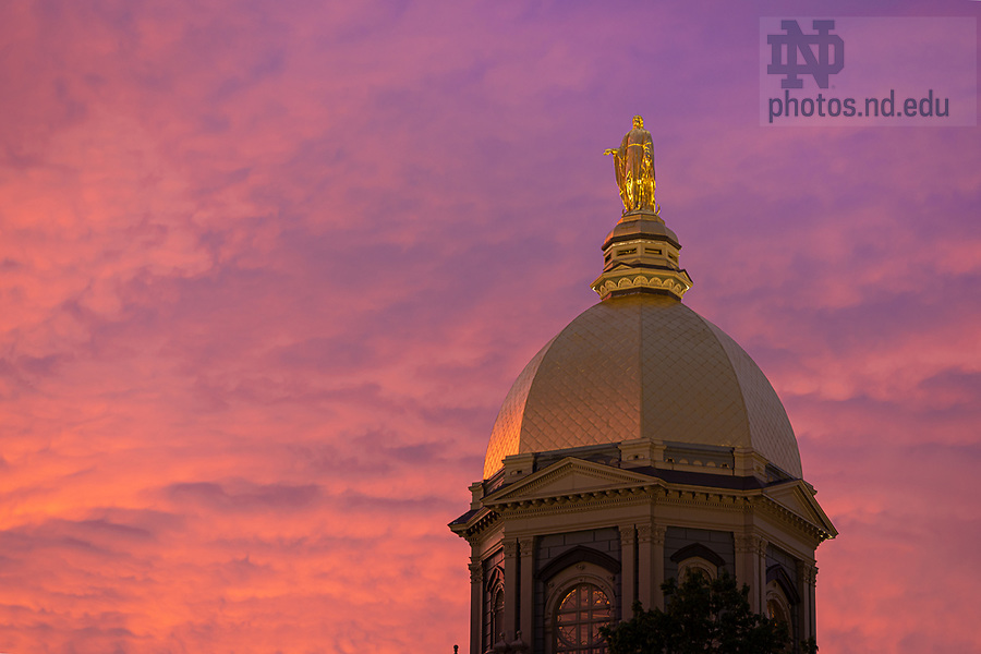 May 18, 2020; Golden Dome at sunset (Photo by Matt Cashore/University of Notre Dame)