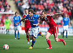 Aberdeen v St Johnstone...31.08.13      SPFL<br /> Stevie May and Mark Reynolds<br /> Picture by Graeme Hart.<br /> Copyright Perthshire Picture Agency<br /> Tel: 01738 623350  Mobile: 07990 594431