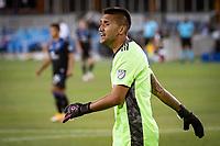 SAN JOSE, CA - SEPTEMBER 19: Daniel Vega #17 of the San Jose Earthquakes during a game between Portland Timbers and San Jose Earthquakes at Earthquakes Stadium on September 19, 2020 in San Jose, California.