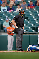 Umpire John Mang during an International League game between the Norfolk Tides and Buffalo Bisons on June 21, 2019 at Sahlen Field in Buffalo, New York.  Buffalo defeated Norfolk 2-1, the first game of a doubleheader.  (Mike Janes/Four Seam Images)