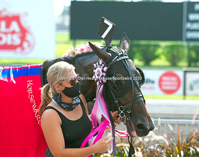 August 8, 2020: Sorella #7, with Yannick Gingras in the sulkie, won the 95th Hambletonian Oaks as the betting favorite for the connections of Tatker and Crawford farms.  Trainer Nancy Tatker celebrates at the Meadowlands in East Rutherford, New Jersey. Dan Heary/Eclipse Sportswire/CSM