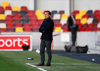 1st October 2020; Brentford Community Stadium, London, England; English Football League Cup, Carabao Cup Football, Brentford FC versus Fulham; Fulham Manager Scott Parker looks on from the touchline