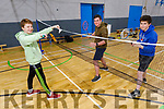 Trying out the Badminton equipment at the open day registration for the Tralee Juvenile Badminton on Saturday. Front: Eoghan Bradshaw. Back: Peter Fitzgerald and Conor Bradshaw.