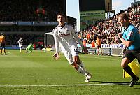 Danny Graham celebrates as Joe Allen puts the Swans two nil up<br /> Barclays Premiere League, Wolves V Swansea City, Molineux, 22/10/11<br /> Ben Wyeth / Athena Picture Agency<br /> info@athena-pictures.com