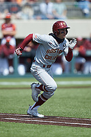 Sal Frelick (11) of the Boston College Eagles hustles down the first base line against the Virginia Tech Hokies at English Field on April 3, 2021 in Blacksburg, Virginia. (Brian Westerholt/Four Seam Images)