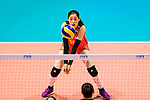 Xiaotong Liu of China passes the ball during the FIVB Volleyball Nations League Hong Kong match between China and Argentina on May 29, 2018 in Hong Kong, Hong Kong. Photo by Marcio Rodrigo Machado / Power Sport Images