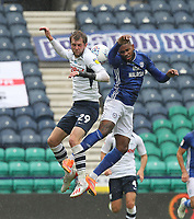 Preston North End's Tom Barkuizen jumps with Cardiff City's Leandro Bacuna<br /> <br /> Photographer Mick Walker/CameraSport<br /> <br /> The EFL Sky Bet Championship - Preston North End v Cardiff  City - Saturday 27th June 2020 - Deepdale Stadium - Preston<br /> <br /> World Copyright © 2020 CameraSport. All rights reserved. 43 Linden Ave. Countesthorpe. Leicester. England. LE8 5PG - Tel: +44 (0) 116 277 4147 - admin@camerasport.com - www.camerasport.com