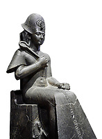 Ancient Egyptian statue of Ramesses II. granodiorite, New Kingdom, 19th Dynasty, (1279-1213 BC), Karnak, Temple of Amon. Egyptian Museum, Turin. white background.<br /> <br /> Ramesses II is depicted in all his majesty in this ststue. He wears a Khepresh crown and holds the heqa sceptre against his chest. The statue probably belongs to the beginning of Ramesses II reign because of the presence of Queen Nefertari by the throne who died half way through his reign.