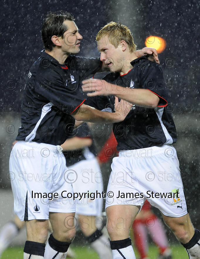 10/01/2009  Copyright Pic: James Stewart.File Name : sct_jspa34_falkirk_v_qots.SCOTT ARFIELD CELEBRATES WITH JACKIE MCNANAMARA AFTER HE SCORES THE SECOND.James Stewart Photo Agency 19 Carronlea Drive, Falkirk. FK2 8DN      Vat Reg No. 607 6932 25.Studio      : +44 (0)1324 611191 .Mobile      : +44 (0)7721 416997.E-mail  :  jim@jspa.co.uk.If you require further information then contact Jim Stewart on any of the numbers above.........