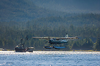 Flightseeing float plane lands in the Tongass Narrows, Ketchikan, Alaska.