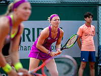 Paris, France, 01 June, 2018, Tennis, French Open, Roland Garros, Womans Doubles : Kiki Bertens (NED) (R) and Johanna Larsson (SWE)<br /> Photo: Henk Koster/tennisimages.com