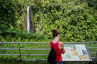 A young woman peruses a visitors' sign at 'Akaka Falls; the falls plummet 442 feet along a 0.4-mile loop hiking trail through a tropical rainforest in 'Akaka Falls State Park, about 10 miles north of Hilo, Big Island.